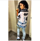 dope,oversized shirt,india westbrooks,jeans,shoes,blue white black,t-shirt,jersey shirt,zip,shirt,top,sweater