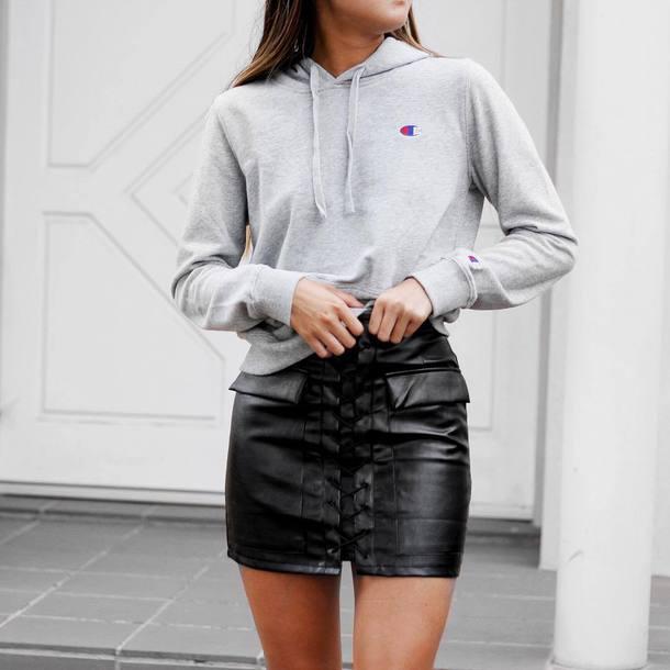 Skirt tumblr mini skirt leather skirt black skirt lace up top hoodie grey hoodie ...