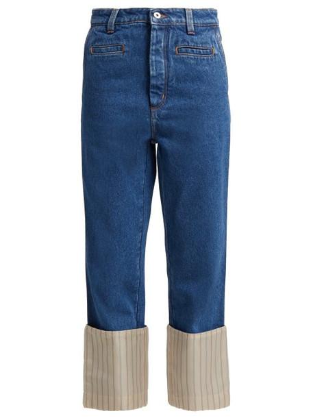 Loewe - Fisherman Striped Turn Up Denim Jeans - Womens - Blue Multi