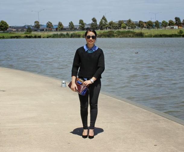 an odd girl bag jewels shirt sweater sunglasses shoes