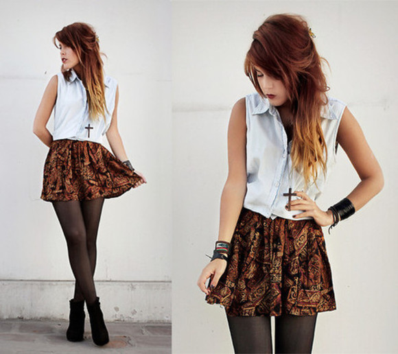 shirt cross necklace cute skirt cute skirt alternative fall outfits luanna perez le happy