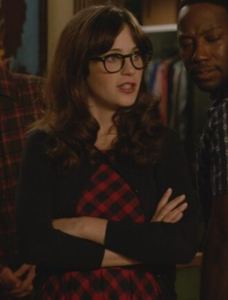 dress red checked new girl jessica day zooey deschanel