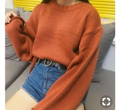 shirt,orange,sweatshirt,thrift,tumblr,copper,aesthetic