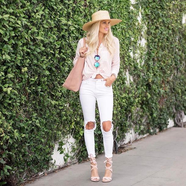 400167057c jeans tumblr hat skinny jeans white jeans denim ripped jeans sandals sandal  heels high heel sandals