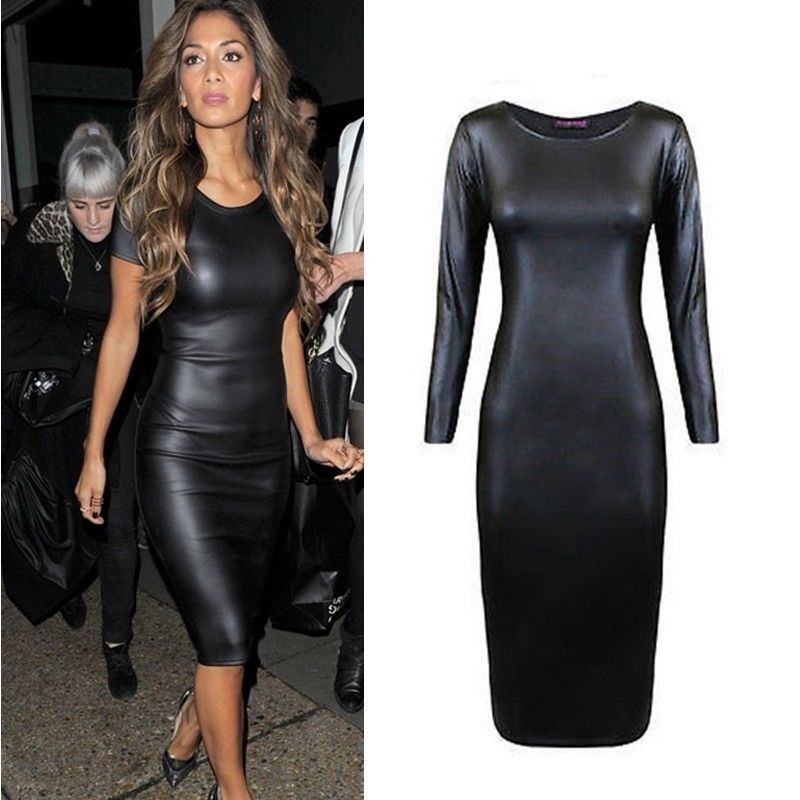 7d8bcd623aa Sexy Womens Faux Leather Bodycon Wet Look Long MIDI Pencil ...