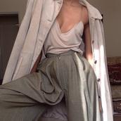 top,beige,cream top,beige tank top,beige top,cream,tank top,jacket,jeans,pants,tumblr,blouse,tan,shirt,plunge shirt,clothes,plunge neckline,plunge v neck,hippy trousers,coat,trench coat