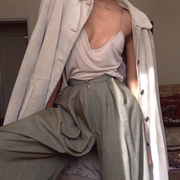 top beige cream top beige tank top beige top cream tank top jacket jeans pants tumblr blouse tan shirt plunge shirt clothes plunge neckline plunge v neck hippy trousers coat trench coat