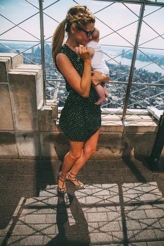 barefoot blonde blogger shoes sunglasses ponytail valentino rockstud mini dress black dress summer dress summer outfits mid heel sandals