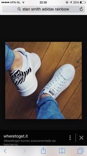 shoes,adidas shoes,adidas stan smith whe bla zebra,stan smiths