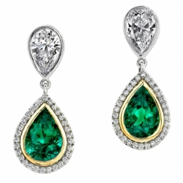 Omi gems: emerald & diamond earrings
