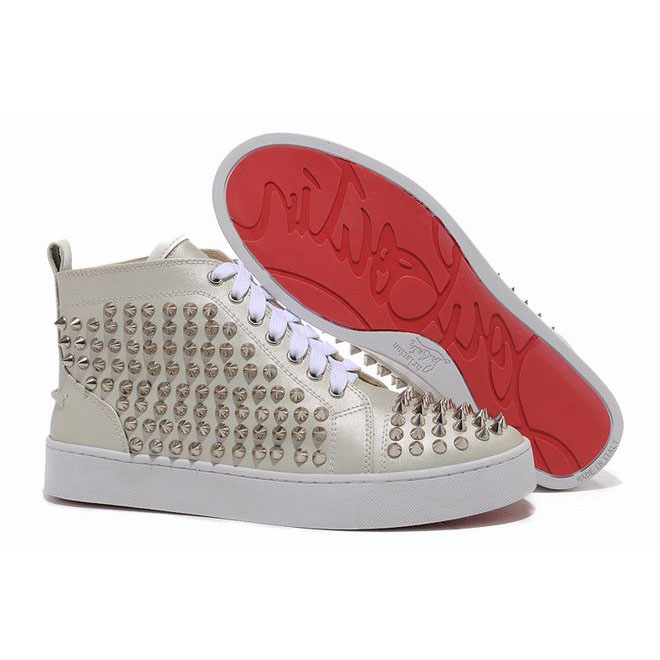 studded louboutin louis beige high tops for women