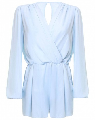 jumpsuit blue playsuit playsuit wrap blue chiffon playsuit pastel pastel dress chiffon playsuits