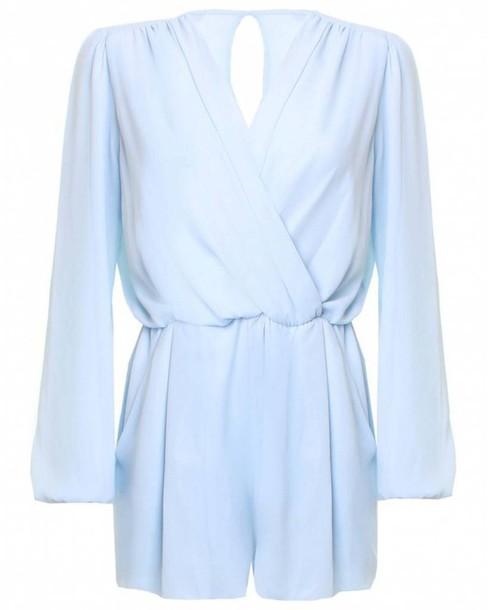jumpsuit blue playsuit romper wrap blue chiffon playsuit pastel pastel dress chiffon playsuits
