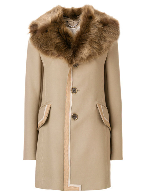 Marc Jacobs coat fur women leather nude wool