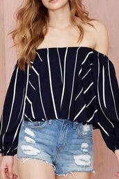 top,navy top,striped top,off the shoulder top,long sleeve off shoulder top