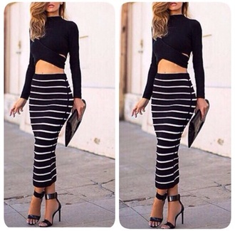 top long sleeves black shirt style blouse skirt white crop tops heels clothes clutch pumps bag long skirt fashion