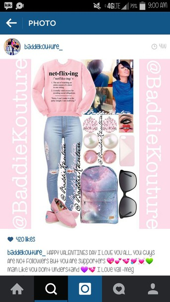 top sweatshirt crewneck outfit outfit idea baddiekouture_ shoes bag pink sweater netflix ripped jeans iphone case galaxy print space backpack black sunglasses