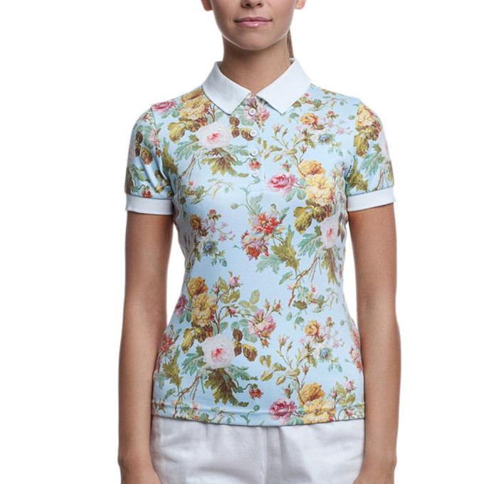 t shirt clothes girly flowers floral roses polo shirt polo t shirt polo white collar flowers. Black Bedroom Furniture Sets. Home Design Ideas