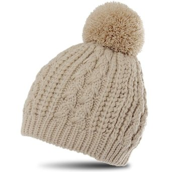 Amazon.com: caspar womens classic winter knitted hat / beanie with cable stitch braid pattern and chunky bobble pom pom