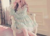dress,ulzzang dress,ulzzang,pastel dress,lace dress,vintage dress,long sleeve dress,blouse,babydoll dress,green dress,blue dress