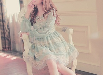 dress ulzzang dress ulzzang pastel dress lace dress vintage dress long sleeve dress blouse babydoll dress green dress blue dress
