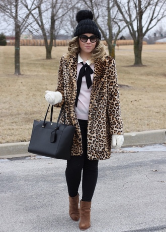 stylin in st. louis blogger sweater coat shoes sunglasses pants bag beanie animal print winter outfits winter coat faux fur coat ankle boots