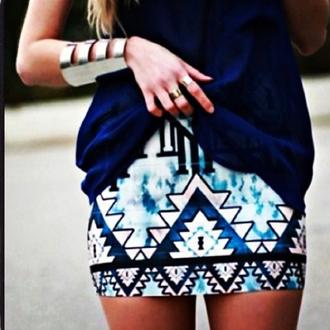 skirt ikat print skirt aztec print skirt blue skirt