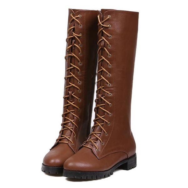 Brown Pu Lace Up Knee High Riding Boots @ Womens Fashion Boots ...
