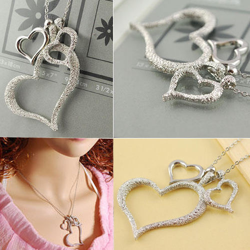 Women Girls Sweet Pretty Silver Three Heart Pendant Chain Necklace Gift | eBay