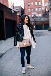 sequins and stripes,blogger,jacket,sweater,shoes,bag,gucci bag,pink bag,black leather jacket,skinny jeans