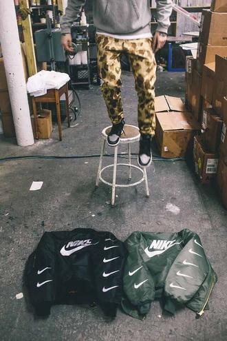 jacket nike logo black urban street nike bomber jacket coat nike bomber