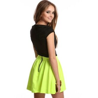 skirt neon skirt lime skirt neon yellow skirt green skirt neon green skirt neon skater skirt online boutique divergence clothing trendy store back to school high waisted skirt