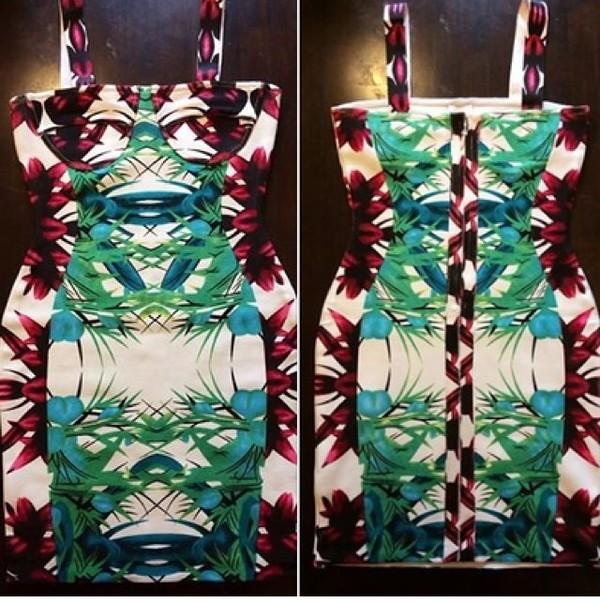 dress mini dress floral dress tropical dress print patterned dress bodycon dress summer dress style