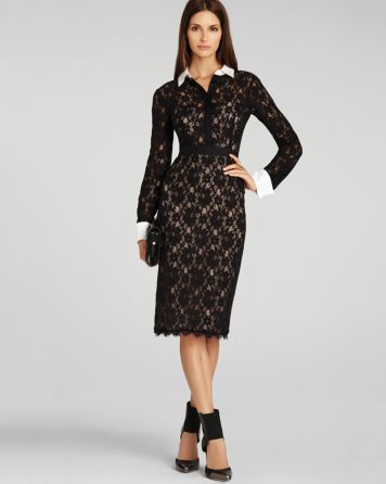 BCBGMAXAZRIA Dress - Olga Fitted Lace   Bloomingdale's
