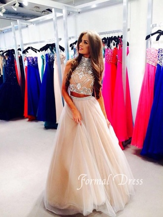 dress prom colorful sparkle formal tan two-piece