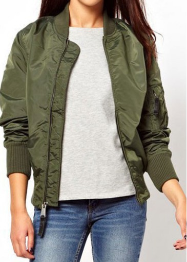 Army Green Long Sleeve Zip Closure Jacket | modlily.com