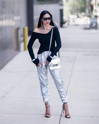 pants tumblr silver pants metallic metallic pants sandals sandal heels high heel sandals black sandals top black top off the shoulder off the shoulder top sunglasses bag silver bag spring outfits