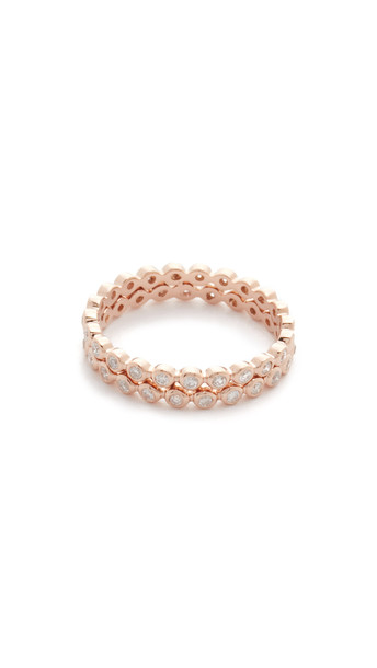 Shay Double Row Diamond Eternity Ring - Rose Gold/White Diamond