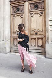 skirt,midi skirt,long sleeves t-shirt,slide shoes,blogger,blogger style,asymmetrical skirt,satin,crossbody bag