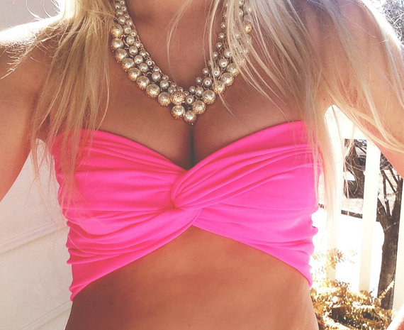 Neon pink twist bandeau by wannabeehipster on etsy