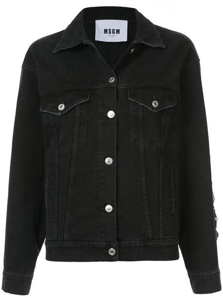 MSGM jacket denim jacket denim women embellished embellished denim cotton black
