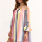 Multicolor print off the shoulder tassel shift dress -shein(sheinside)