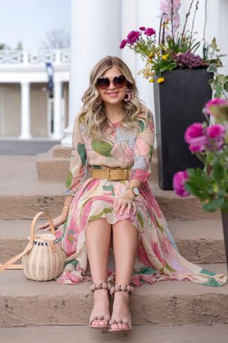 suburban faux-pas blogger dress sunglasses shoes bag belt jewels floral dress sandals spring outfits