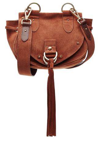 bag shoulder bag suede brown