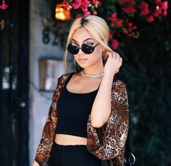 sunglasses cardigan blouse shirt top