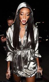 dress,silver,metallic,hoodie,winnie harlow,party dress,model off-duty,mini dress,futuristic,jacket,satin