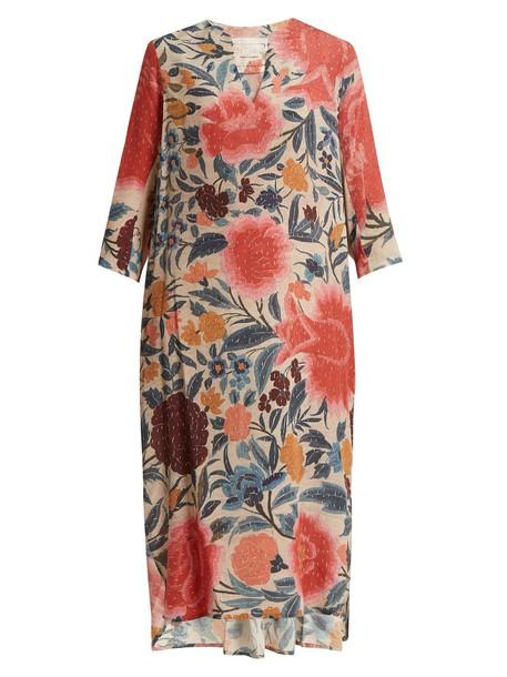 BY WALID floral print silk pink top