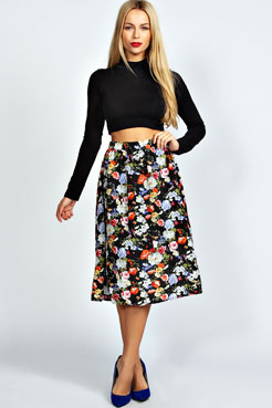 Mya Floral Full Midi Skirt at boohoo.com