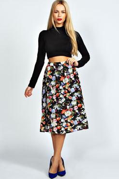 Mya Floral Full Midi Skirt at boohoo.com