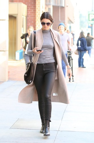 shoes black boots ankle boots leather kendall jenner streetstyle casual jeans